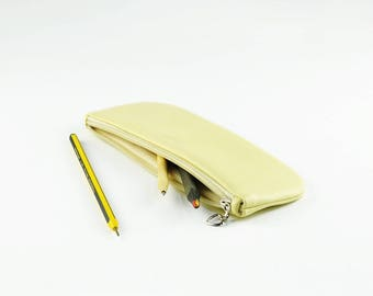PU Leather Pencil Case, Pen Bag, Toiletry Storage, Travel Bag, Light Yellow