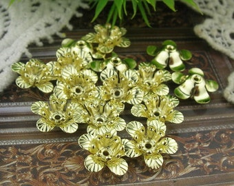 15 pcs Gold Plated Flower Filigree Charms,11mm