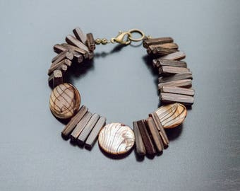 In The Woods Bracelet - Palm Wood Beads, Wooden Jewelry, Wood Bracelet, Shell Beads, Brown Jewelry, Flat Beads