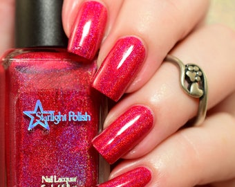 Poinsettia Red Pink Holographic Winter Holodays Cool Holo Indie Nail Lacquer Starlight Polish