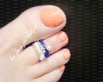 Stacking Toe Ring, Stacking Rings, Cobalt Blue Ring, Silver Toe Ring, Crystal Charm Ring, Stretch Bead Toe Ring