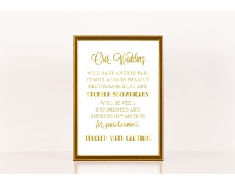 Wedding Reception Sign, Printable Wedding Sign, Drunken Shenanigans, Wedding Bar, Printable Sign for Wedding, Wedding Reception