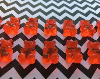 20pc. Red Resin Gummy Bears, Looks so Real, Kawaii flatback