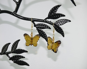 EARRINGS Butterfly EARRINGS of amber and gold plated