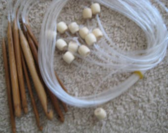 13 size 48 inch Bamboo Tunisian Afghan crochet hooks with extension tube SIZE D to P (3.25 mm-12 mm) (you will get 13 hooks)
