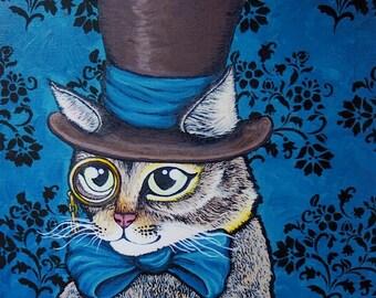 Posh Cat Portrait - 8 x 10 Print - Acrylic Painting