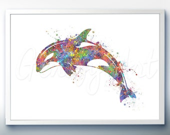 Killer Whale Sea Animal Watercolor Art Print  - Watercolor Painting - Sea Life Watercolor Art Painting - Home Decor - House Warming Gift