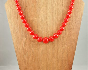 Vintage Plastic Red Pearl Necklace