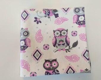Flannel receiving/swaddle blanket - purple owls