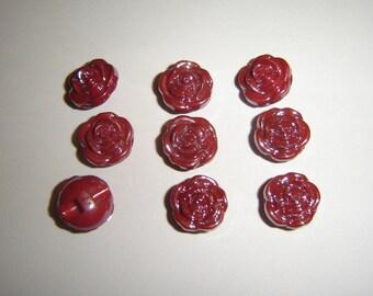 GLASS IRIDESCENT buttons 5 / / 13 mm / / dark red