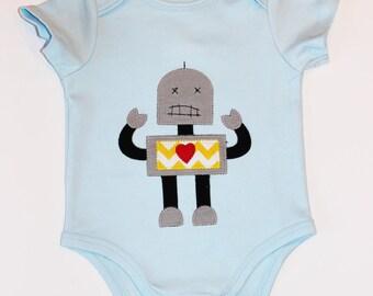 Baby Boy Applique Robot Onesie, you choose size 3 - 24 months