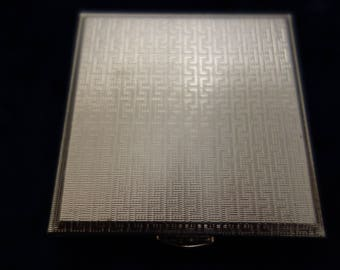 Square Silver tone Powder Compact  by Kigu of London