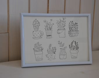 Small plants in India ink