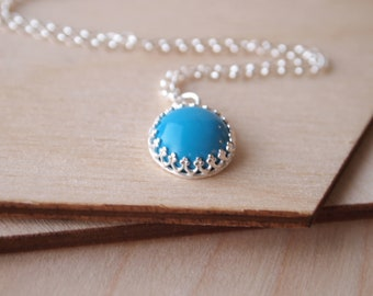 Turquoise Silver Pendant - Sterling Silver - Turquoise Necklace -December Birthstone - Wedding Jewelry - Something Blue - Gift for Girl