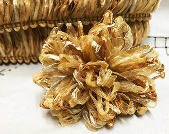 Organza Loop Fringe Gold Ribbon Trim Plush Pillow Fringe Lampshade Trim DIY Window Treatments  Pom Pom Embellishments - 1 yard