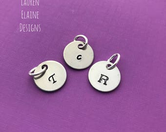 Custom Hand Stamped Aluminum 1/2 inch Initial Charm