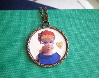 Vintage Barbie Necklace - Classic Barbie + Hand Painted Gold Heart Pendant Jewelry Gift for Her - Iconic Barbie Cameo Upcycled Paper Charm