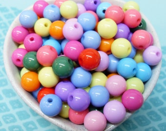 50x 10mm Resin Multi color Globe beads .. Candy Fun