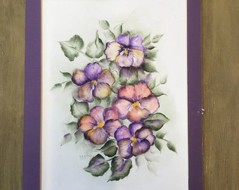 Vintage watercolor purple pansies among green leaves unframed 8 by 11 inches signed Parks