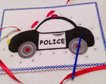 Police car lacing card sewing card #3911