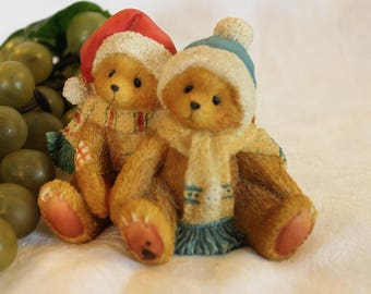 """1996 Cherished Teddies Jamie and Ashley Enesco Figurine - """"I'm All Wrapped Up In Your Love"""""""