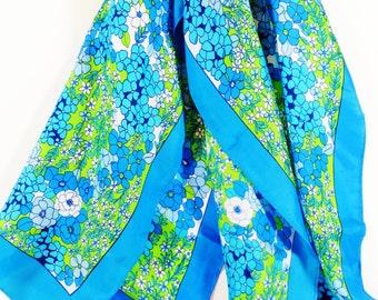 Vintage Blue Floral SIlk Scarf, Long Flower Midcentury 1950s Scarf