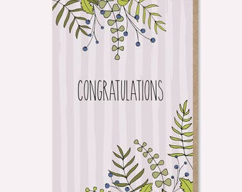 Congratulations Card / Celebration Card / Engagement Card / Good News Card / Well Done Card / New Job Card / floral / foliage / handmade