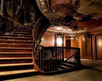 """Neglected Beauty, Fine Art Print, Abandoned Building, Chicago Architecture, color photography """"Back Stairs Elegance"""""""