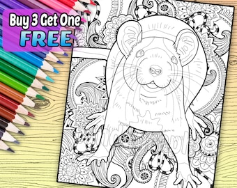 Regal Rat - Adult Coloring Book Page - Printable Instant Download