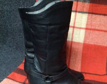 90s Black Buckle Boots Genuine Leather US 9 EU 40 UK 7