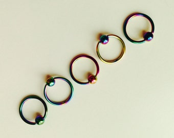 Ball Closure | BCR | Ring | Rainbow | Multi Coloured | Septum | Ear | Piercing | Body Jewellery