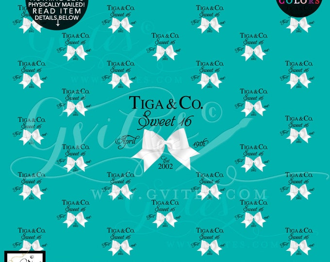 Sweet 16 Step and Repeat Backdrops, breakfast at bridal shower, turquoise blue white bow, birthday and co backdrops, Size: 10ft x 8ft