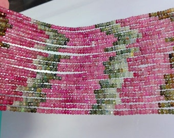 14-inch AAA quality Tourmaline multi-color micro faceted beads size 3.5mm GW2692