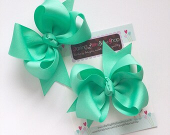 "Bows with tails, Choose 3"", 4"", 5"" or 6"" bows in color of your choice -- Choose 2 for the sweetest pigtail set ever"