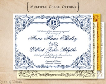 Printable Wedding Invitation - 5x7 - Ornate Frame - Formal Classic Elegant Vintage Personalized DIY - Navy Blue White Brown Ivory Red Gold