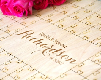 Personalized Guest Puzzle, Personalized Guest Book, Wedding Love Hearts, Guest Book Puzzle, Rustic Guest Book Puzzle, Alternative Guest Book