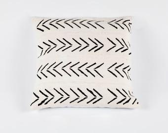 White Bogolan Mudcloth Pillow