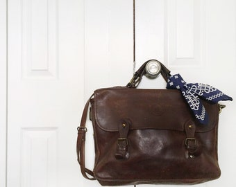 Vintage Leather Attache Brown Messenger Bag Briefcase