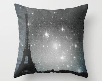 "Throw pillow, ""Starry Night in Paris. Eiffel Tower"" Decorative Photo Pillow, Cushion, Various Sizes, dorm, office, nature, stars, night sky"