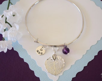 Mom Bangle Silver, Personalized Silver Leaf, Real Leaf Bracelet, Silver Aspen, Amethyst Mother Gift, Sterling Silver Initial, Monogram