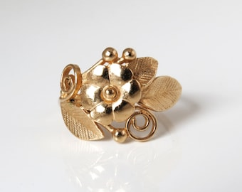 Unique rose gold flower ring, Flower and leaves ring, flower gold ring, Natural floral ring, 14k solid gold ring, vintage style ring, gift.