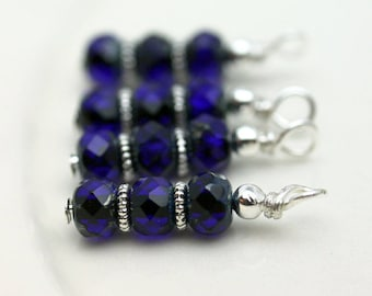 Blue Royal Blue Czech Picasso Firepolished Bead Earring Dangle Charm Drop Set