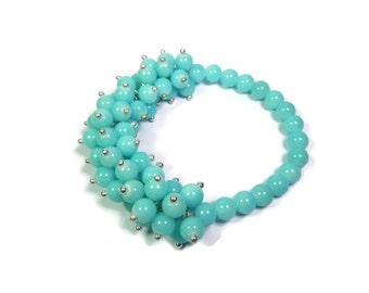 Tropical Anemone Aqua Blue/Silver Bracelet - Hand Looped/Beaded Cluster Stretch - Quartz Gemstone - Mishimon Designs