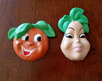 Vintage Chalkware Fruit Wall Hangings Pear and Orange
