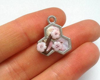 Polymer clay honeycomb Sakura flower charm