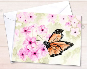 Monarch butterfly stationery, personal stationery set, art reprint, watercolor notecards, blank cards, watercolor garden, gardening notecard