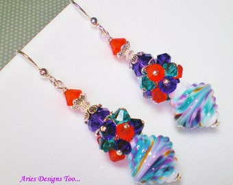 Orange , Teal,Purple and White Baroque Shaped Lampwork Earrings, Colorful Summer Cluster Earrings in Orange, Teal,Purple & White
