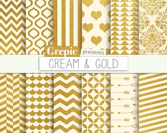 "SALE 50% Gold digital paper: ""CREAM & GOLD"" cream gold backgrounds w/ gold patterns, polkadots, chevron, stripes, damask, hearts,"