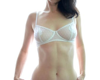 Women Sleepwear & Intimates Bras The Sheer Cup Red Polka Dot Underwired Bra MADE TO ORDER