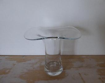 Glass Flower Vase with Wavy Rim, 1960s Glass Vase 0317008-143